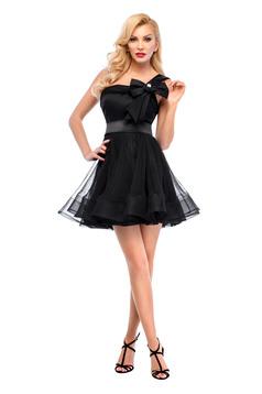 Fekete Ana Radu ruha tll és szatén anyagból