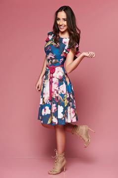 Kék LaDonna virágmintás ruha övvel ellátva