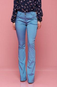 Kék PrettyGirl testhez álló zsebes irodai nadrág