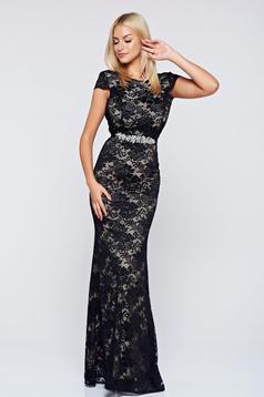 StarShinerS fekete alkalmi ruha csipkés anyagból