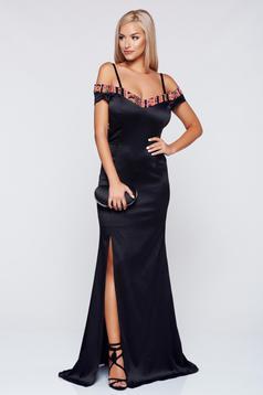 Fekete StarShinerS alkalmi váll nélküli ruha