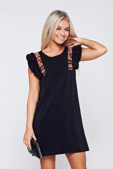 Fekete StarShinerS elegáns bő szabású rövid ujjú ruha