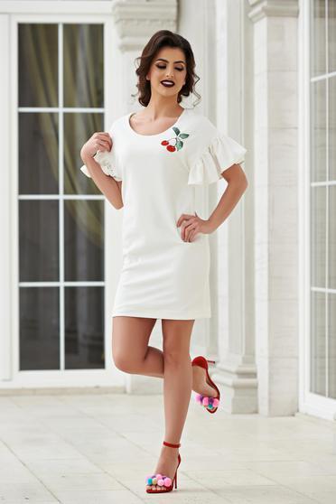 StarShinerS fehér elegáns hímzett ruha harang ujjakkal