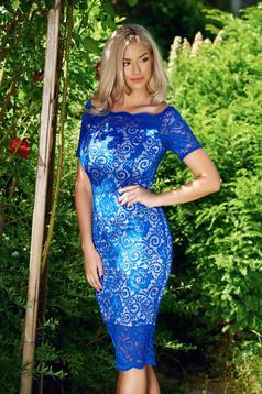 Kék StarShinerS alkalmi ruha csipkés anyagból
