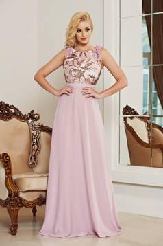 Rózsaszínű StarShinerS alkalmi ruha fátyol anyagból flitteres díszítéssel