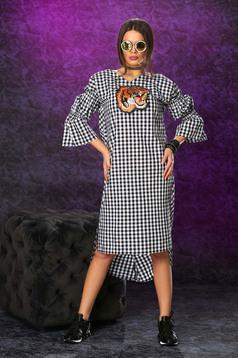 Fekete Ocassion ruha kockás anyag harang ujjakkal