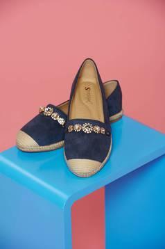 Kék balett cipő hétköznapi gyöngy díszítéssel