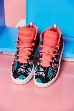 Fekete Adidas sport cipő originals virágmintás díszítéssel fűzővel köthető meg