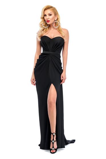 Fekete Ana Radu aszimetrikus ruha szivacsos, push-up-os mellrész ráncolt anyaggal