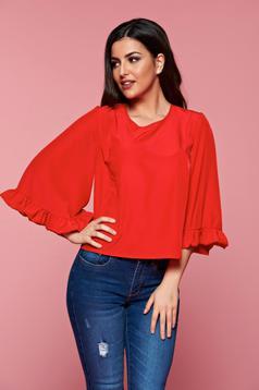 Piros StarShinerS hétköznapi női blúz lenge anyag