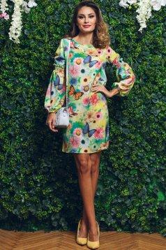 Zöld PrettyGirl ruha virágmintás díszítéssel bő szabás