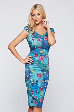 Kék Fofy midi ceruza ruha virágmintás díszítéssel