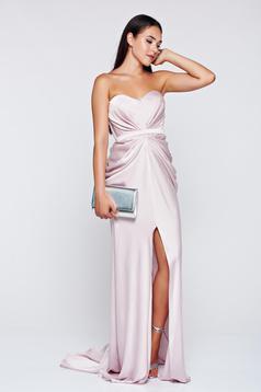 Rózsaszínű Ana Radu aszimetrikus ruha szivacsos, push-up-os mellrész ráncolt anyaggal