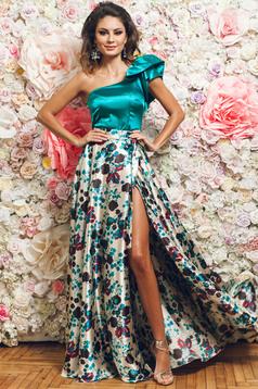 Türkiz PrettyGirl elegáns egy vállas női blúz szatén anyagból