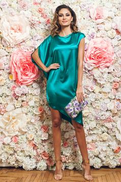 Zöld PrettyGirl ruha aszimetrikus elegáns szatén anyagból