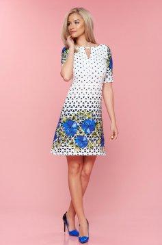 Kék LaDonna bő szabás grafikai mintával ruha