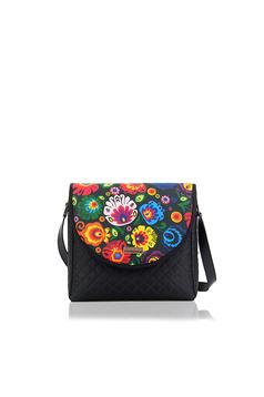 Fekete táska egy rekesz, belső zsebekkel