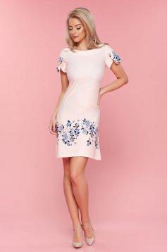 Barackvirágszínű LaDonna ruha bő szabás pöttyös virágmintás díszítéssel