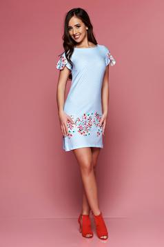 Világoskék LaDonna ruha bő szabás pöttyös virágmintás díszítéssel
