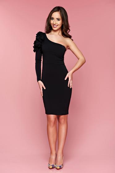 Fekete LaDonna egy vállas alkalmi ceruza ruha