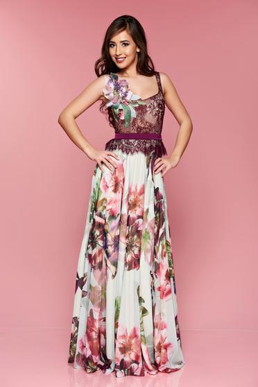 Lila LaDonna virágmintás alkalmi ruha hosszú csipkés anyagból