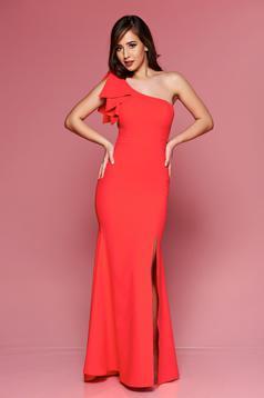 Piros LaDonna hosszú alkalmi ruha egy vállas