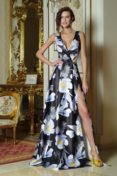 Fekete Artista hosszú elegáns a-vonalú virágmintás ruha
