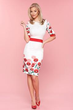 Piros PrettyGirl virágmintás 3/4-es ujjú ceruza ruha