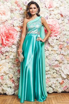 Zöld PrettyGirl alkalmi egy vállas ruha szatén anyagból