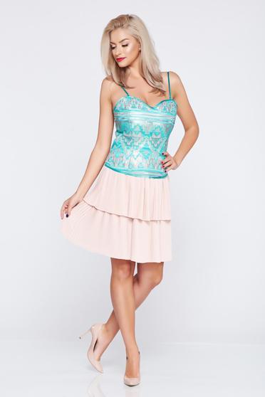 Rózsaszínű PrettyGirl rövid elegáns szoknya rakott részek