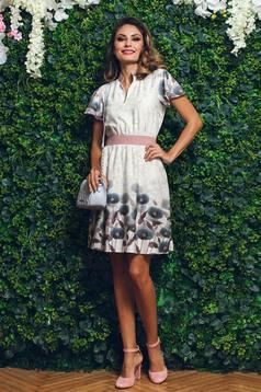 Barna PrettyGirl a-vonalú galléros virágmintás ruha