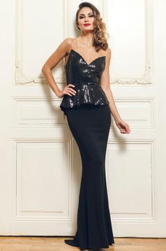 Fekete PrettyGirl hosszú alkalmi ruha derekán fodros