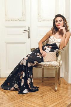 Fekete alkalmi PrettyGirl ruha virágmintás díszítéssel szatén anyagból
