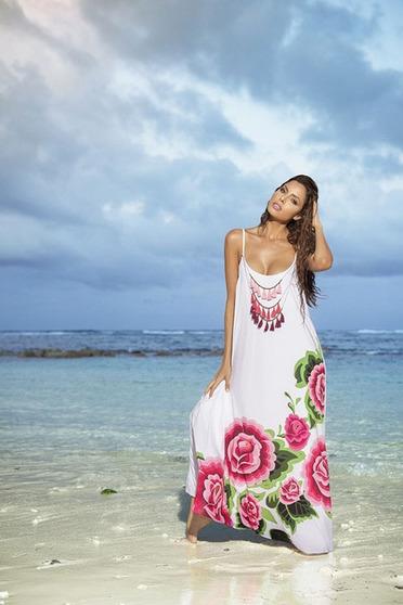 Fehér Cosita Linda ruha beach pántos bő szabás lenge anyag