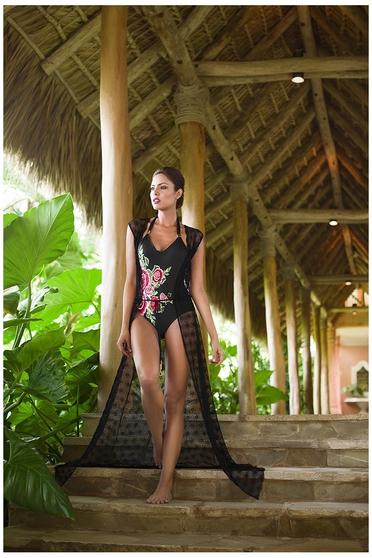 Fekete Cosita Linda ruha S-029037 strandi hosszú bő szabás