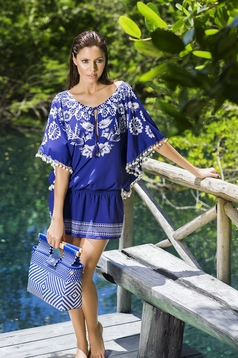 Kék Cosita Linda strandi bojtos ruha lenge anyagból