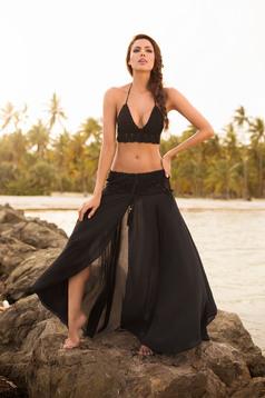Fekete Cosita Linda a-vonalú strandi szoknya lenge anyagból