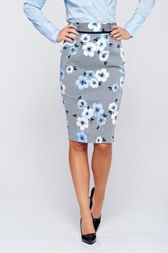 Kék Fofy midi pamutból készült virágmintás szoknya