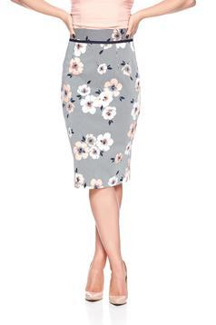 Barackvirágszínű Fofy midi pamutból készült virágmintás szoknya
