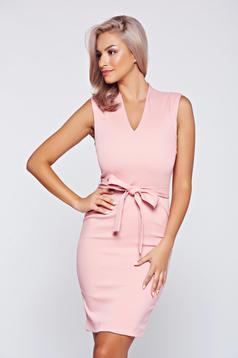 Rózsaszínű Top Secret ceruza ruha v-dekoltázzsal