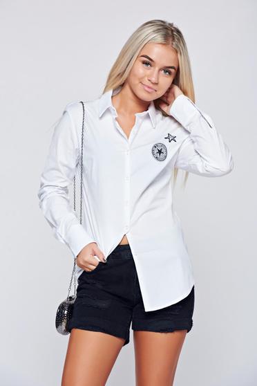 Fehér Top Secret hosszú ujjú női ing rugalmas pamutból