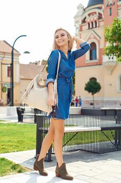 Kék Top Secret hétköznapi ruha dekoltázzsal
