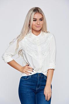 Fehér Top Secret hímzett bő szabású női ing