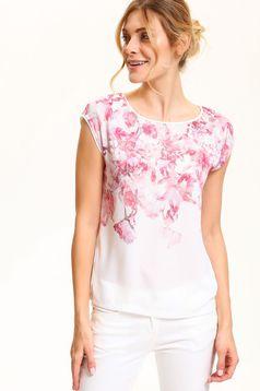 Fehér Top Secret póló virágmintás díszítéssel lenge anyagból