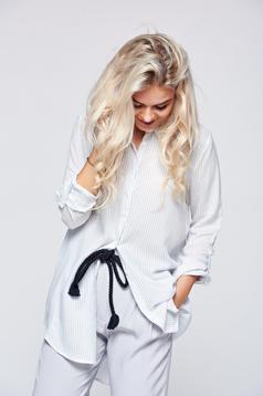Fehér Top Secret bő szabású csíkos női ing