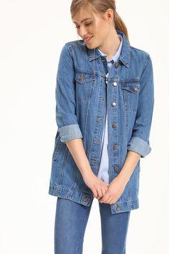 Kék Top Secret hétköznapi zsebes dzseki farmerarnyagból