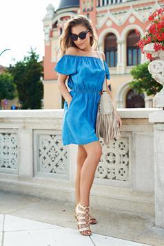 Kék Top Secret rövid ujjú váll nélküli hétköznapi ruha