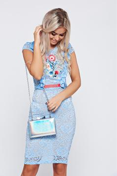 Kék StarShinerS alkalmi hímzett ruha csipkés anyagból
