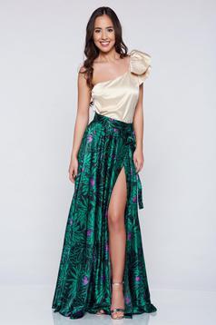 Zöld PrettyGirl elegáns hosszú szoknya szatén anyagból
