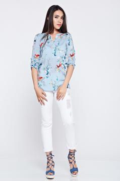 Kék Top Secret 3/4-es ujjú bő szabású csíkos női ing